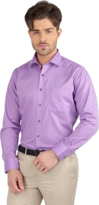J Hampstead Men's Solid Formal Purple Shirt
