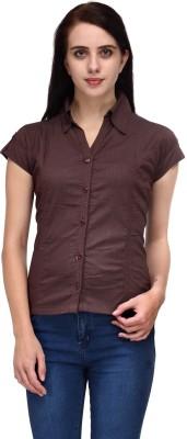 Aadhunik Libaas Women's Solid Casual Brown Shirt