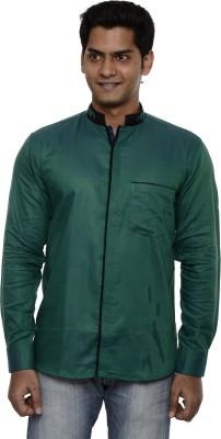 Ach Fashion Men's Self Design Casual Linen Green Shirt