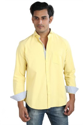Faceman Men's Solid Casual Yellow Shirt