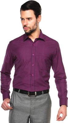British Club Men's Striped Formal Purple Shirt