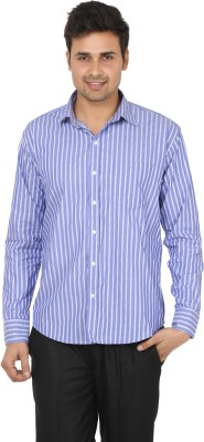 Adhaans Men's Striped Formal Blue Shirt