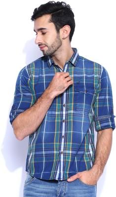 HRX by Hrithik Roshan Men's Checkered Casual Dark Blue Shirt