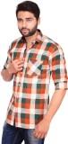 RKF Men's Checkered Casual Orange Shirt