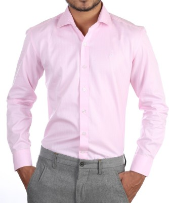FORTY ONE FITZROY Men's Solid Formal Pink Shirt