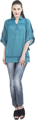 Remanika Women,s Self Design Formal Blue Shirt