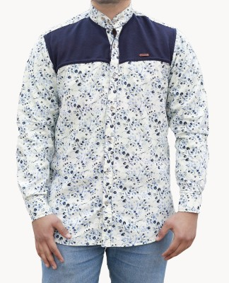 Yzade Men's Printed Casual, Party White Shirt