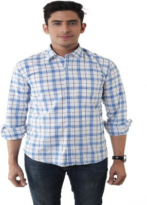 Lee Marc Men's Checkered Casual White, Blue Shirt
