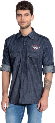 Estycal Men,s Solid Casual Denim Blue Shirt