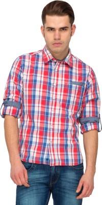 T-Base Men's Checkered Casual Pink Shirt