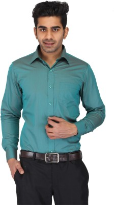 Prague Fashion Men's Self Design Formal Dark Green Shirt