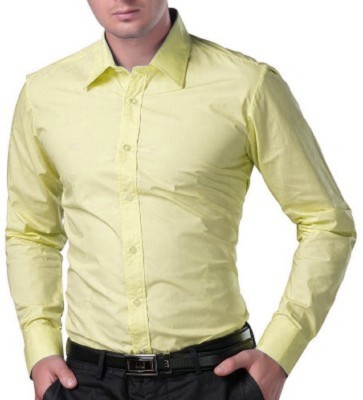 Rv Collection Men's Solid Formal Yellow Shirt