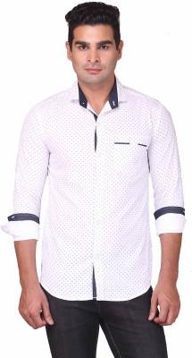 Human Steps Men's Polka Print Casual White Shirt