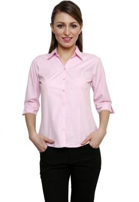 Fellows International Women's Solid Formal Pink Shirt