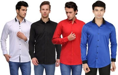 Feed Up Men's Solid Casual White, Black, Red, Blue Shirt