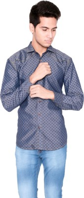 Shreebalajitraders Men's Printed Casual Denim Dark Blue Shirt