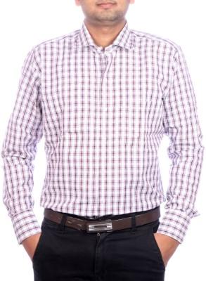 AADUKI Men's Checkered Formal Maroon Shirt