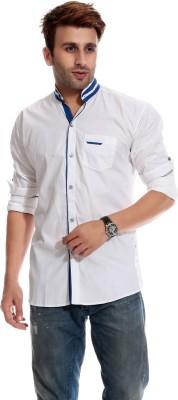 Goodkarma Men's Self Design Casual White, Blue Shirt