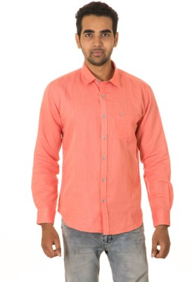 West Vogue Men's Solid Casual Orange Shirt