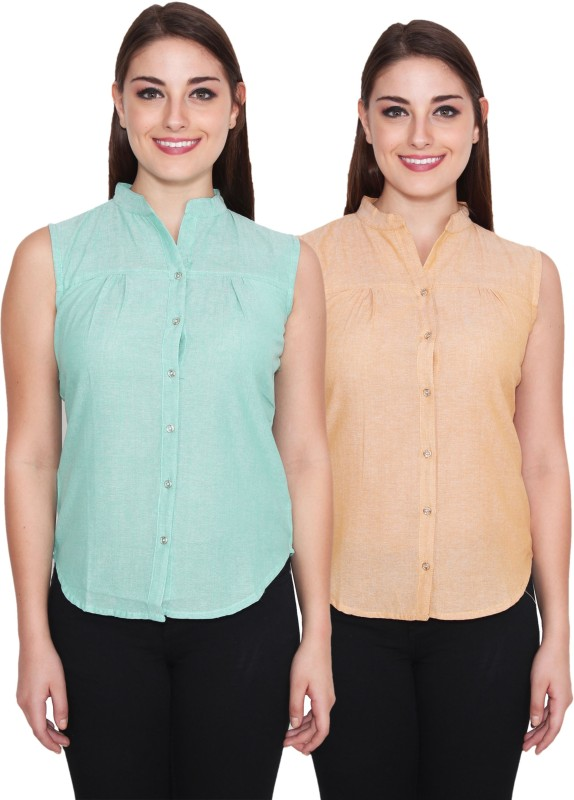 NumBrave Women's Solid Casual Green, Beige Shirt(Pack of 2)