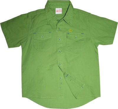 FS Mini Klub Boy's Printed Casual Green Shirt