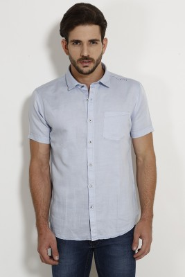 SIN Men's Solid Casual Blue Shirt