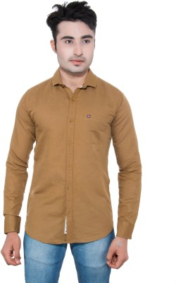 GreyBooze Men's Solid Casual Linen Brown Shirt