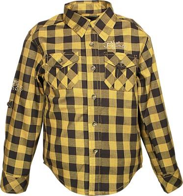 Blue Giraffe Boy's Self Design Casual Brown Shirt