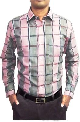 Shine Shirts Men's Checkered Formal Pink Shirt