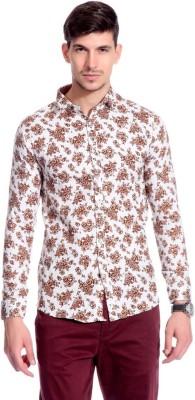 Goodkarma Men's Floral Print Casual White, Brown Shirt
