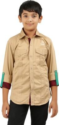 Cub Kids Boy's Printed Casual Beige Shirt