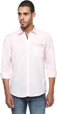 FERROUS Men's Solid Casual Pink Shirt