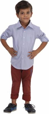 Trmpi Boy's Striped Casual Light Blue Shirt