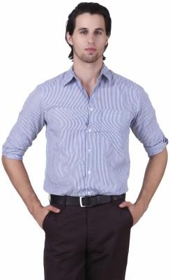 Mind The Gap Men's Striped Formal Blue Shirt