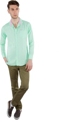 Nine Club Men's Solid Casual Light Green Shirt