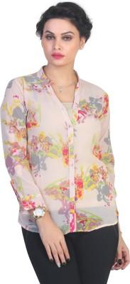 Ten on Ten Women's Floral Print Casual Beige Shirt