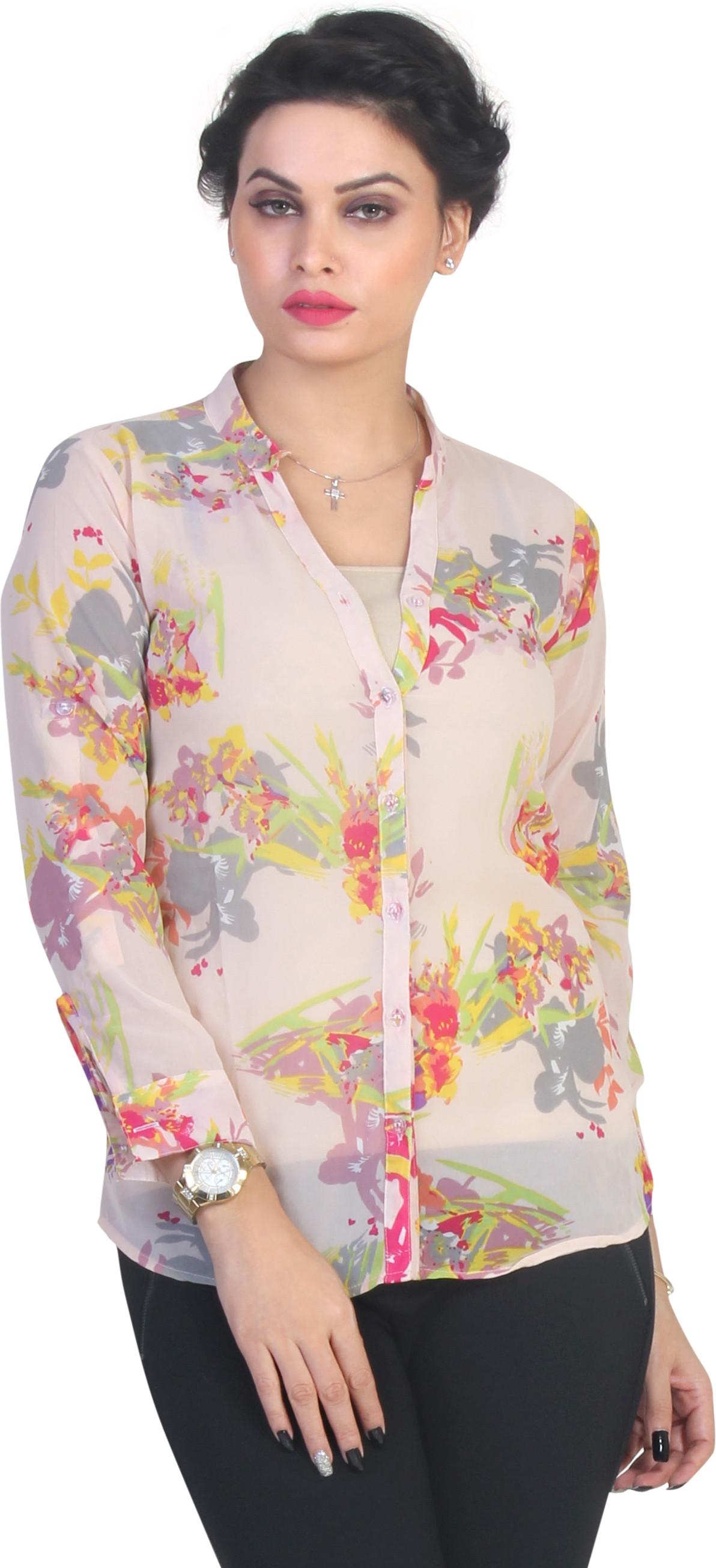 Ten on Ten Womens Floral Print Casual Beige Shirt