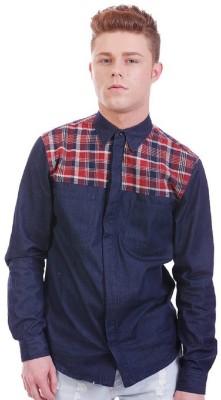 Nana Judy Men's Checkered Casual Blue Shirt