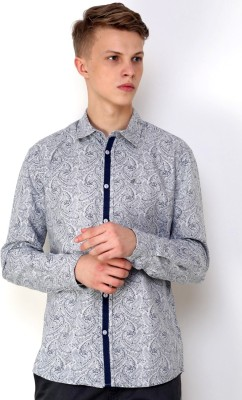 CHRISTIAN FABRE Men's Printed Casual Grey Shirt