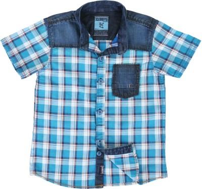 Ice Boys Boy's Checkered Casual Blue Shirt