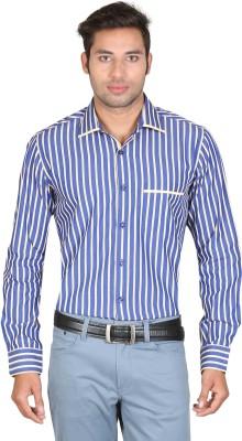 Don Vino Men's Striped Casual Blue, Yellow Shirt