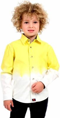 Cherry Crumble California Boy's Self Design Casual Yellow, White Shirt