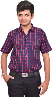 British Terminal Men's Checkered Casual Red, Blue Shirt