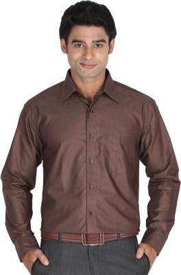 Lagnesh Men's Solid Formal Brown Shirt