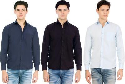 Atmosphere Men's Solid Casual Blue, Black, Light Blue Shirt