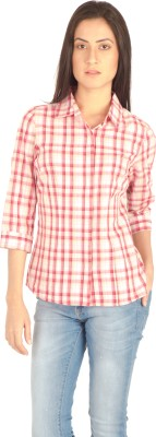 Miss Rich Women's Checkered Casual Pink Shirt