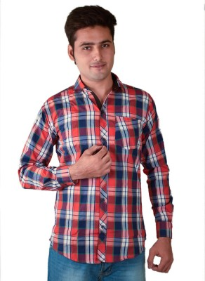FUEGO Men's Striped Casual Red, Blue Shirt