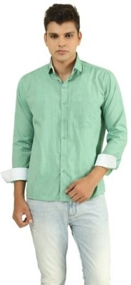 Frissk Men's Solid Casual Green, White Shirt