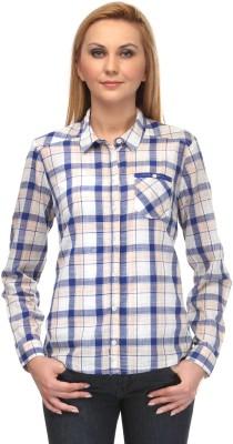 Kiosha Women's Checkered Casual White, Blue Shirt