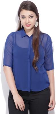 Van Heusen Womens Solid Casual Blue Shirt
